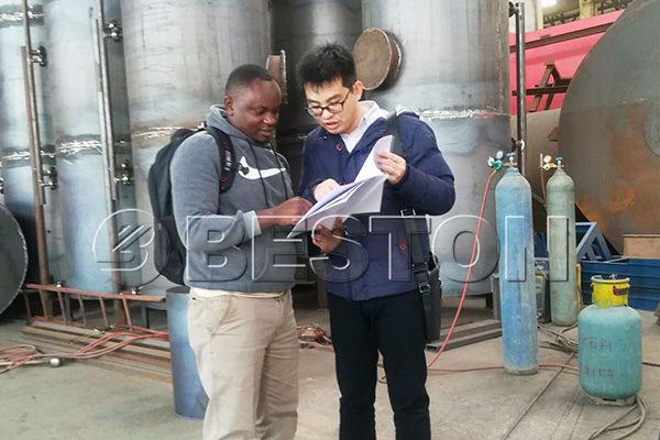 Kenyan Customers in Beston Biochar Equipment Workshop
